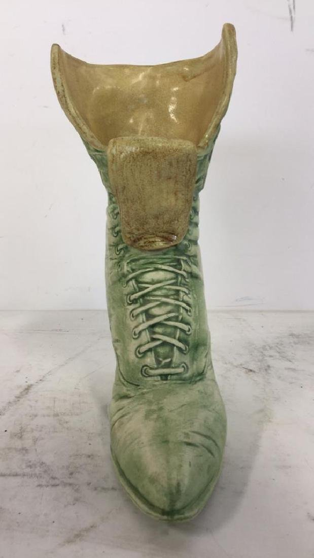 Green Toned Ceramic Boot Shaped Vase - 3