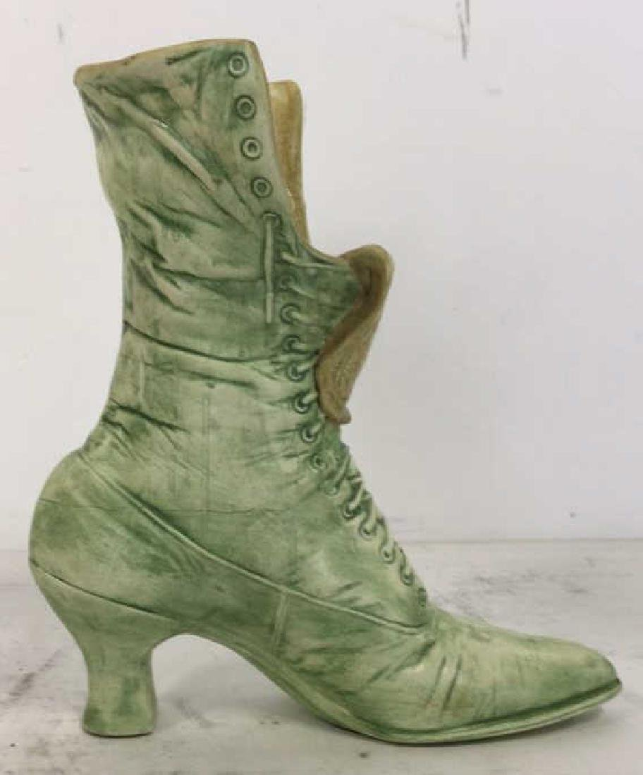 Green Toned Ceramic Boot Shaped Vase - 4