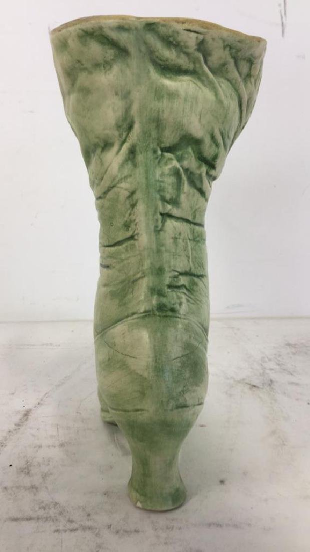 Green Toned Ceramic Boot Shaped Vase - 6