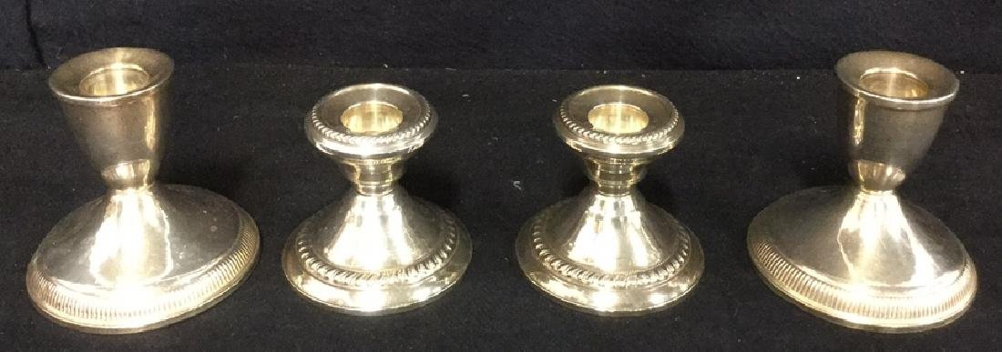 Lot 4 Sterling Silver Weighted Candle Sticks
