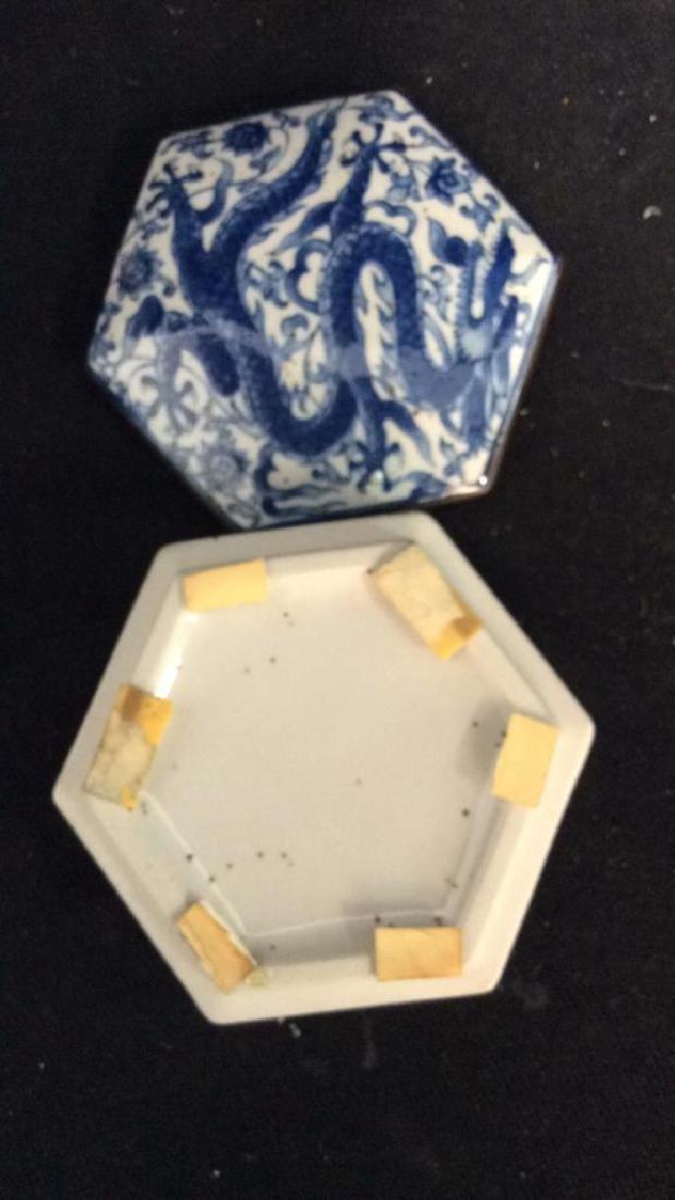 Lot 3 Asian Lidded Vessels porcelain Ceramic - 10