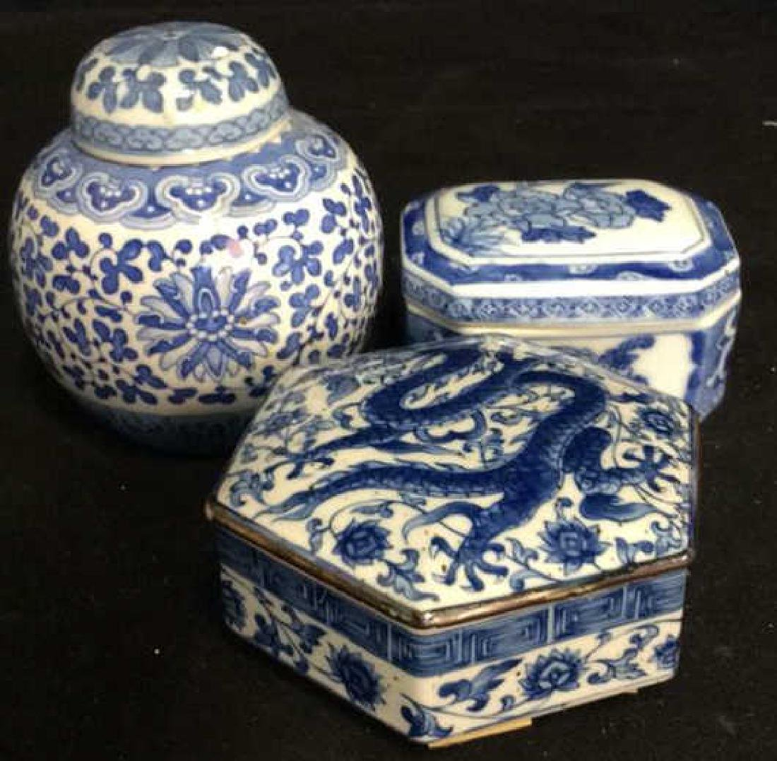 Lot 3 Asian Lidded Vessels porcelain Ceramic