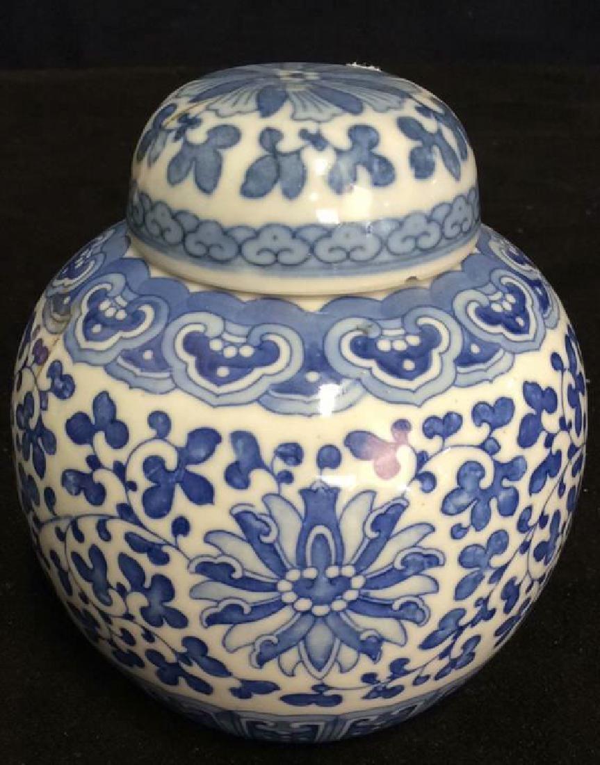Lot 3 Asian Lidded Vessels porcelain Ceramic - 2
