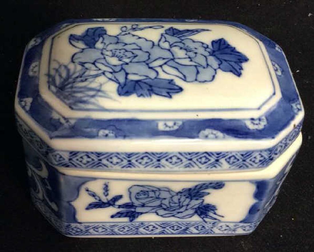 Lot 3 Asian Lidded Vessels porcelain Ceramic - 5
