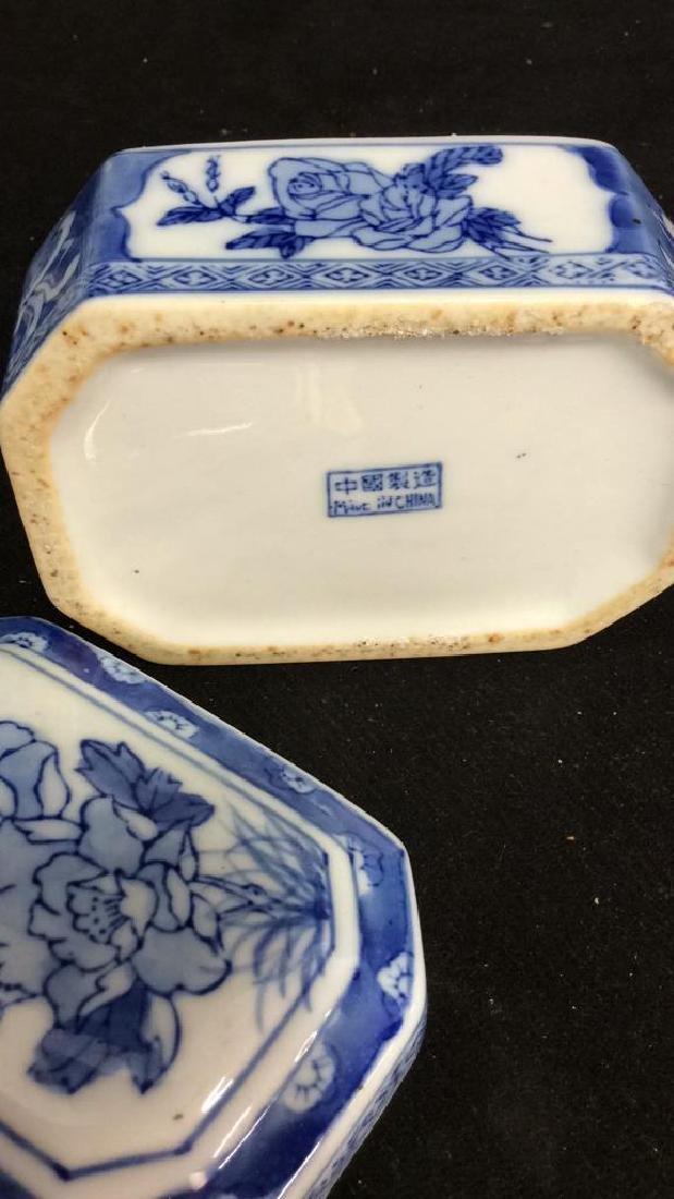 Lot 3 Asian Lidded Vessels porcelain Ceramic - 6