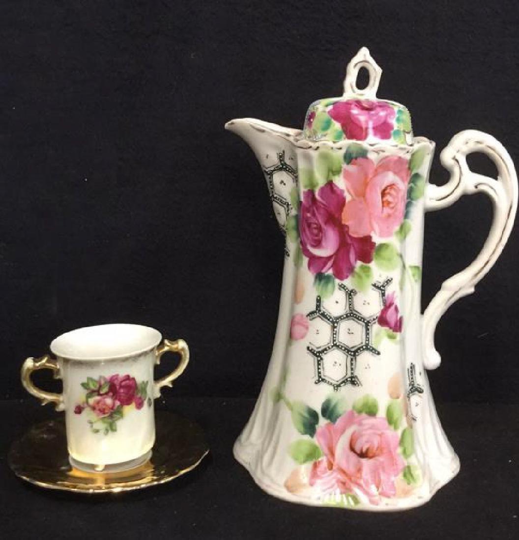 Lot 3 Vintage Porcelain Coffee Pot And Cup