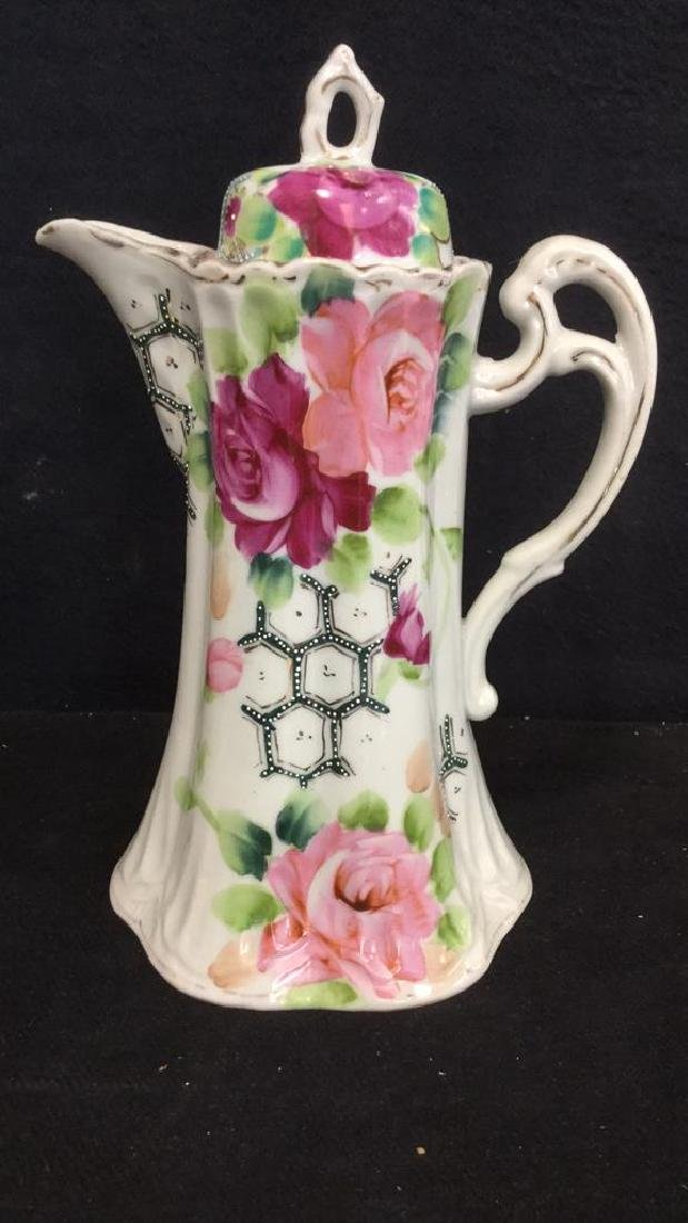 Lot 3 Vintage Porcelain Coffee Pot And Cup - 2