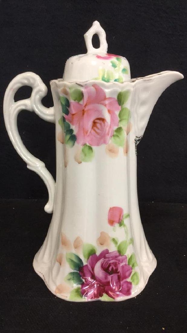 Lot 3 Vintage Porcelain Coffee Pot And Cup - 3