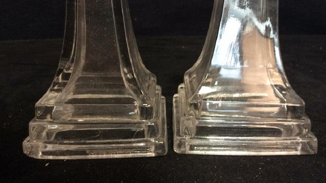 Pair Vintage Tiered Glass Candlesticks - 2