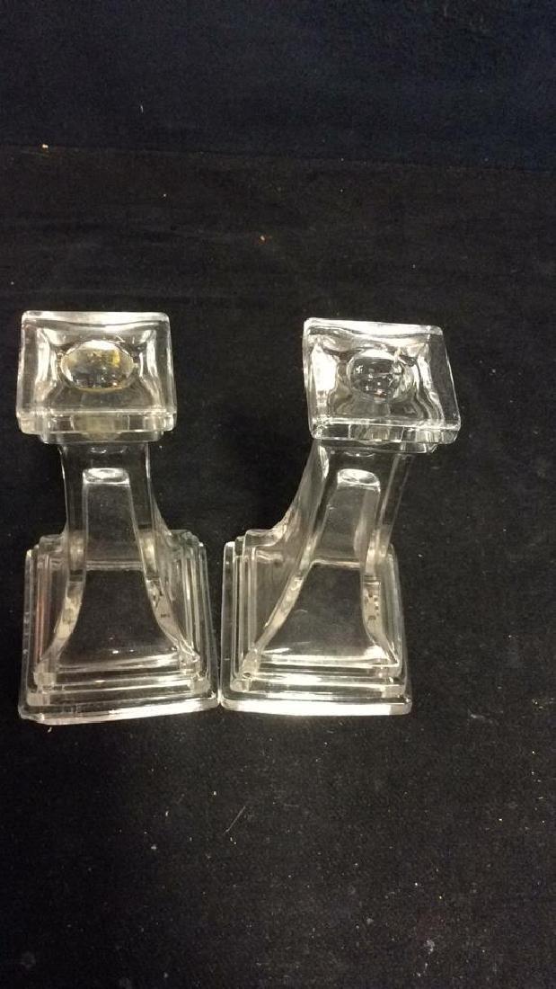 Pair Vintage Tiered Glass Candlesticks - 3