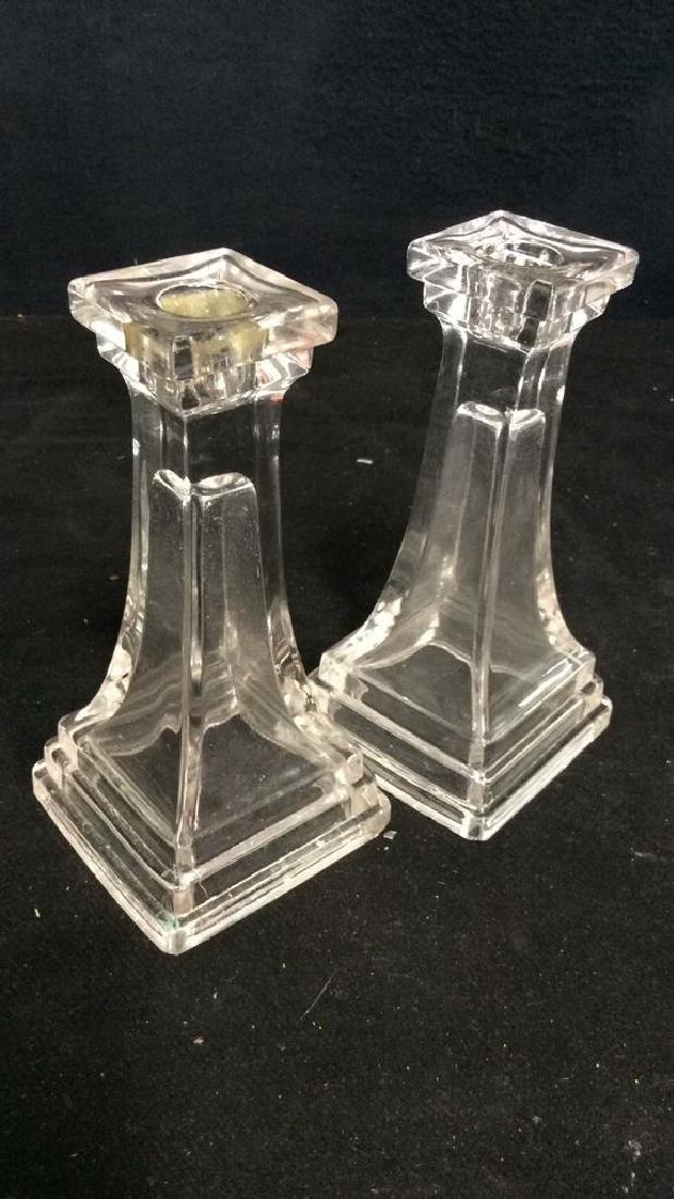 Pair Vintage Tiered Glass Candlesticks - 5