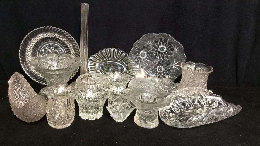 Group Lot Vintage Cut Glass Serving Pieces