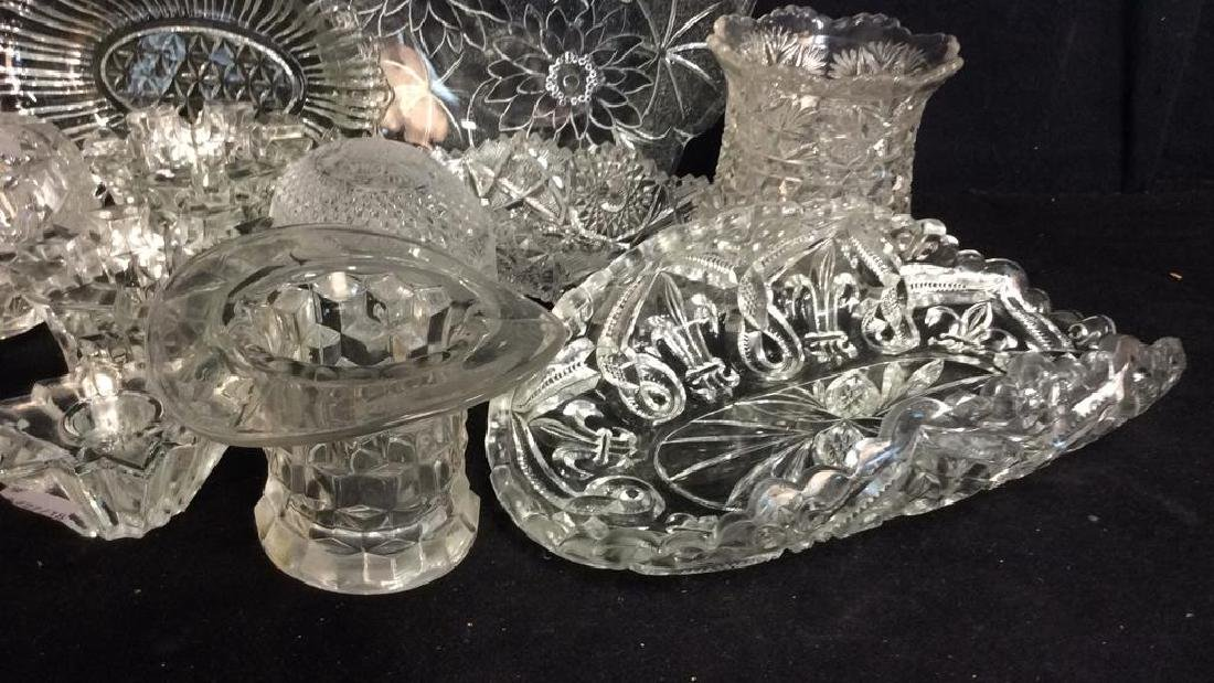 Group Lot Vintage Cut Glass Serving Pieces - 2