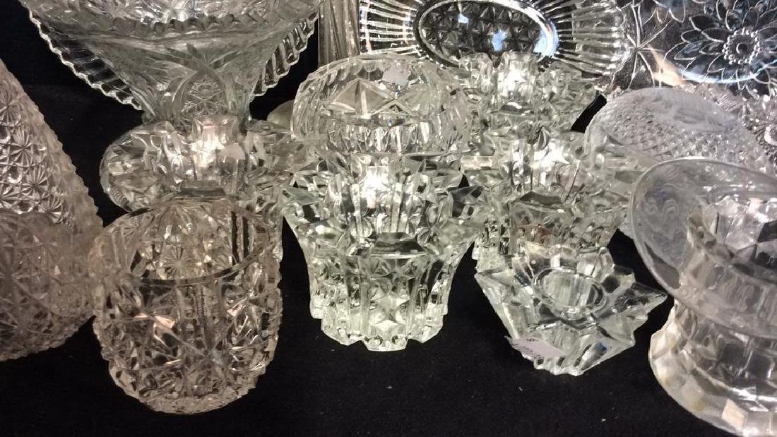 Group Lot Vintage Cut Glass Serving Pieces - 3