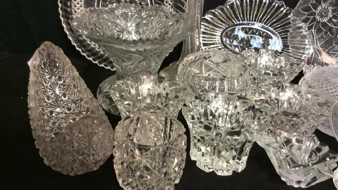 Group Lot Vintage Cut Glass Serving Pieces - 4