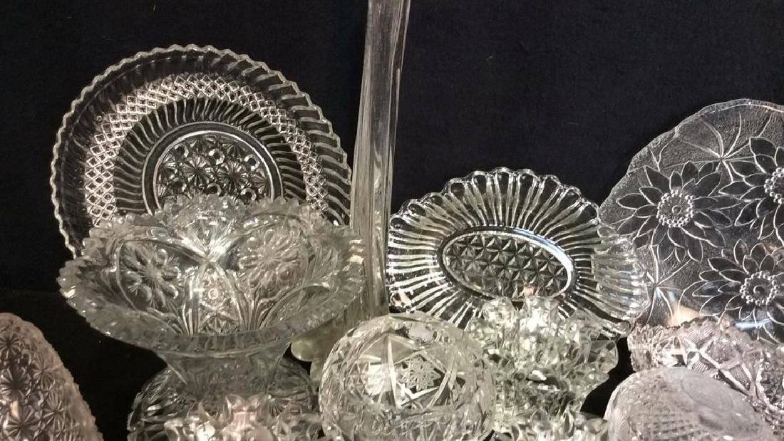 Group Lot Vintage Cut Glass Serving Pieces - 5