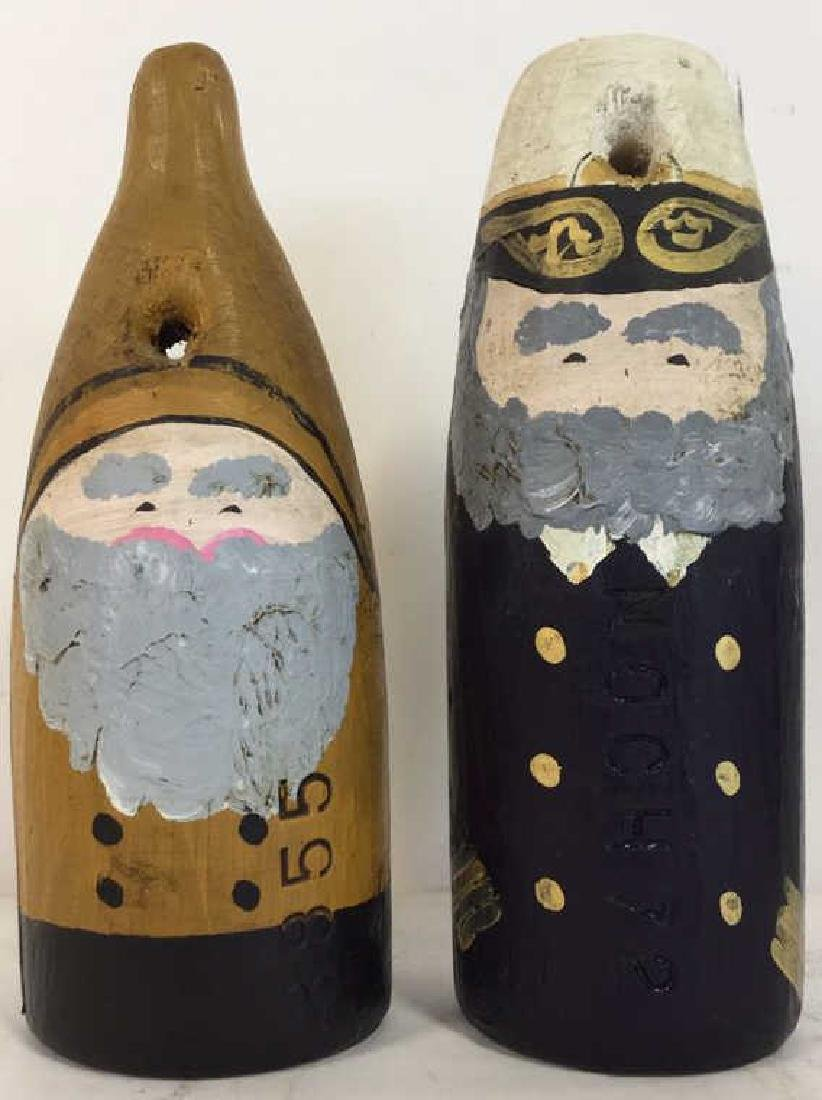 Lot 2 Hand Painted Nautical Wooden Buoys