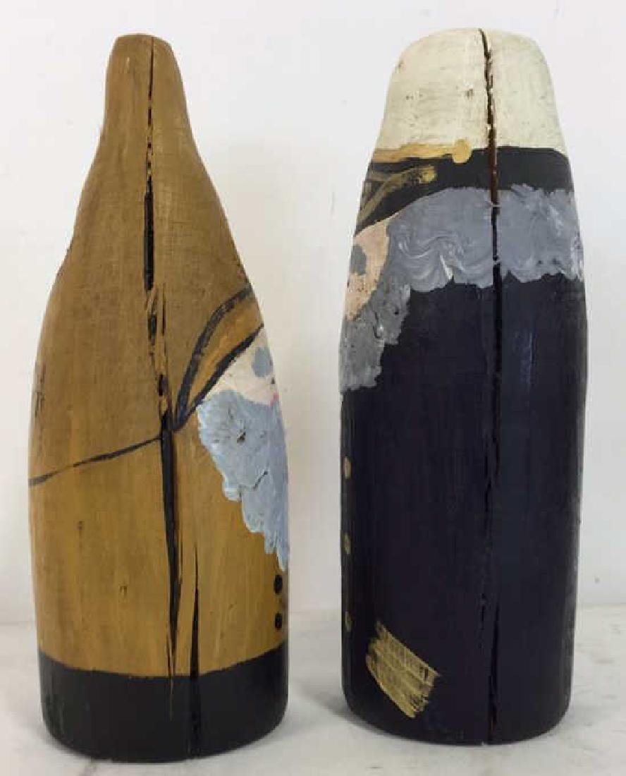 Lot 2 Hand Painted Nautical Wooden Buoys - 4