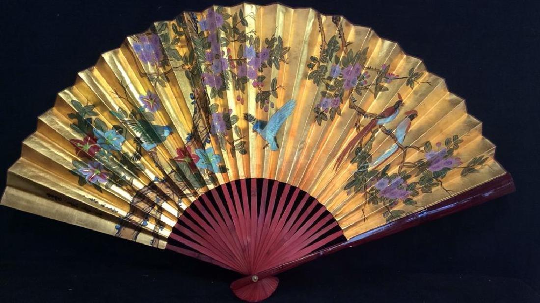 Large Decorative Oriental Paper Fan
