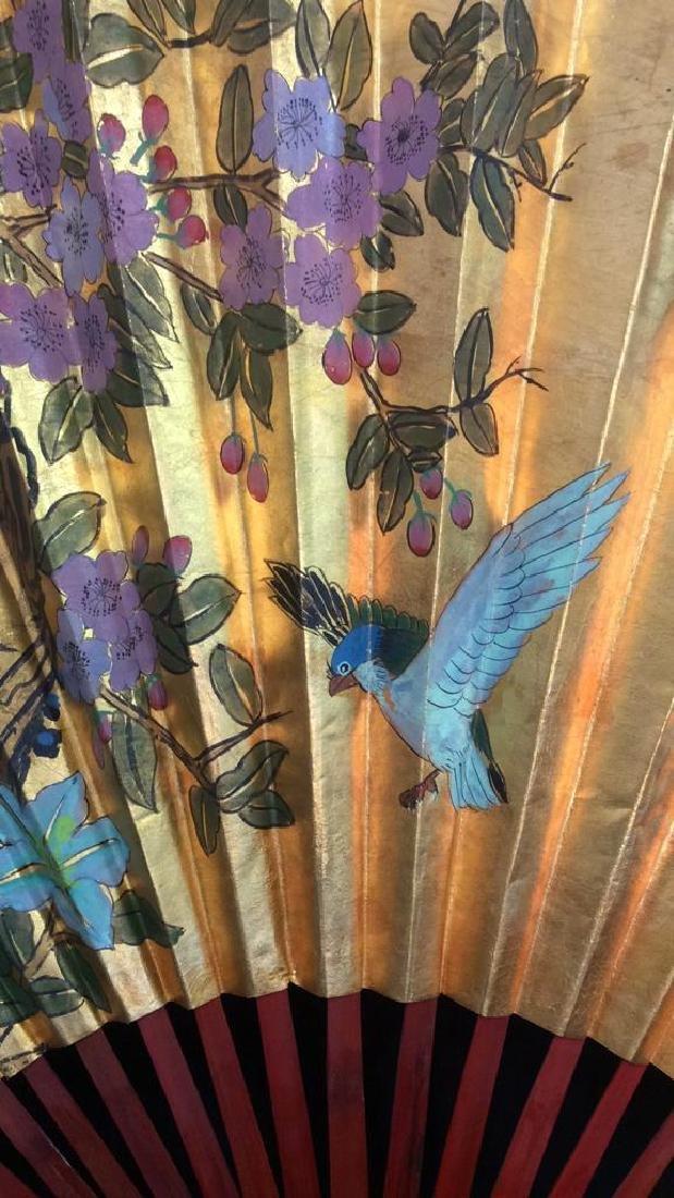 Large Decorative Oriental Paper Fan - 2