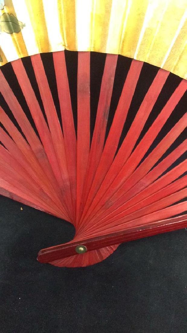 Large Decorative Oriental Paper Fan - 5