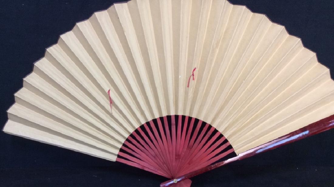 Large Decorative Oriental Paper Fan - 7
