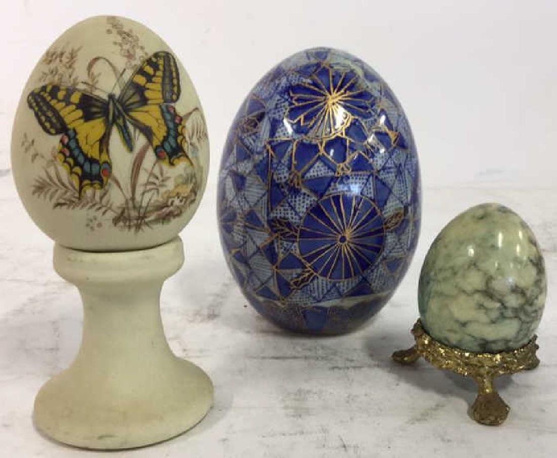 Lot 3 Decorative Marble and Pottery Eggs
