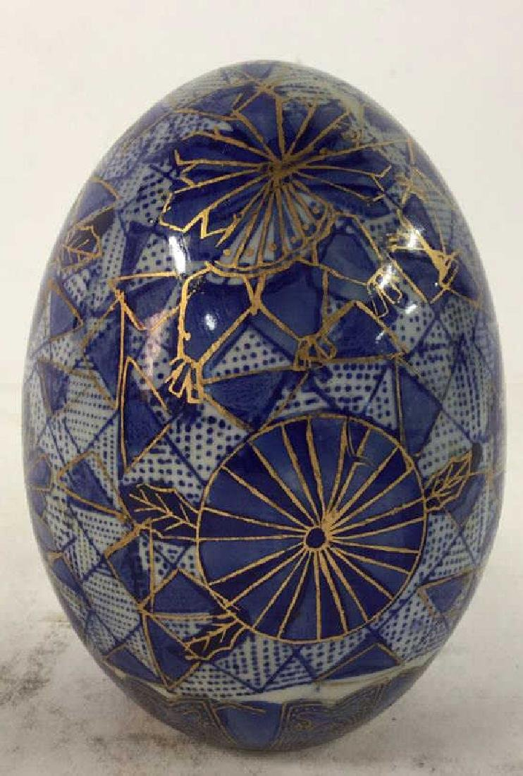 Lot 3 Decorative Marble and Pottery Eggs - 2