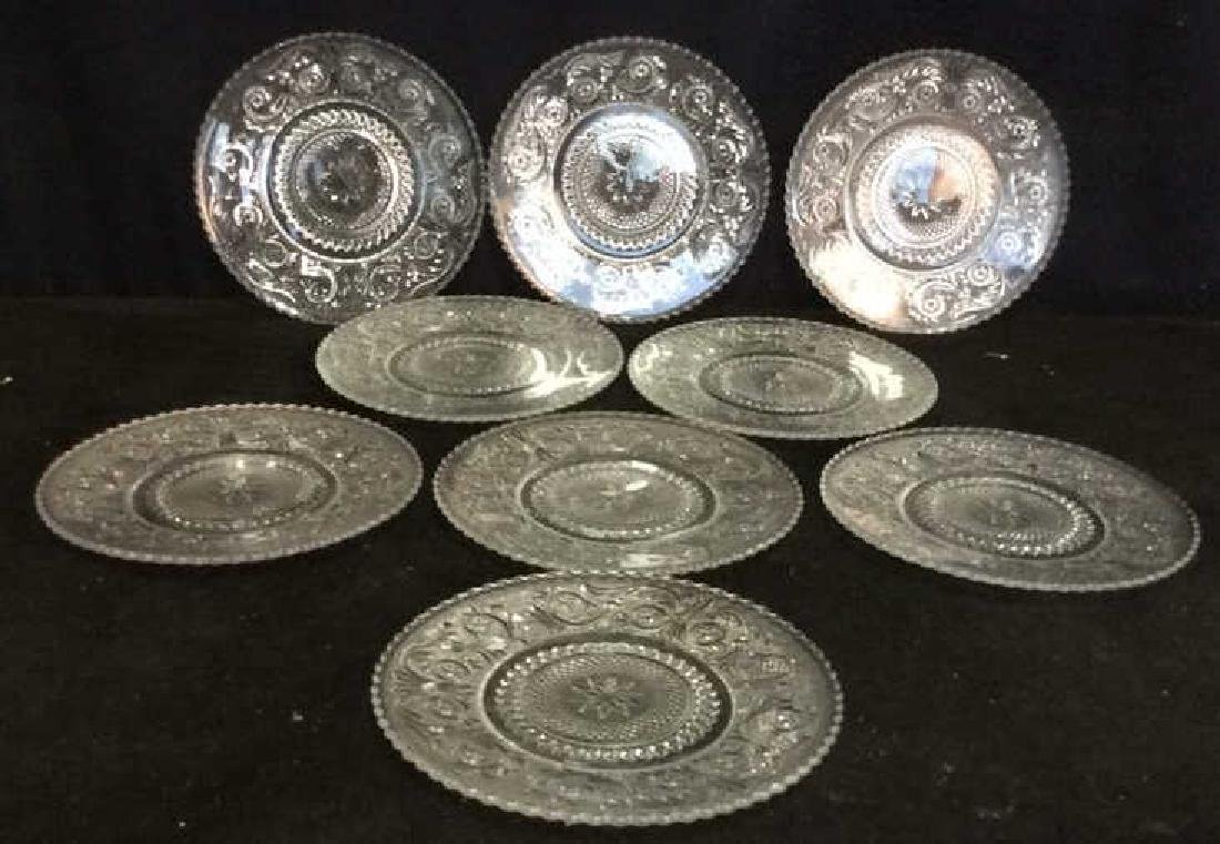 Set 9 Vintage Detailed Glass Plates