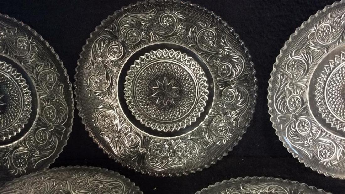 Set 9 Vintage Detailed Glass Plates - 3