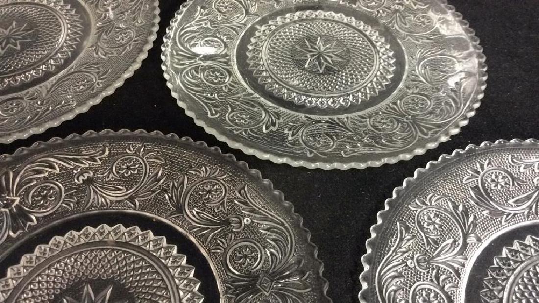 Set 9 Vintage Detailed Glass Plates - 4