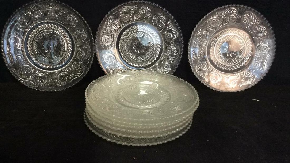 Set 9 Vintage Detailed Glass Plates - 7