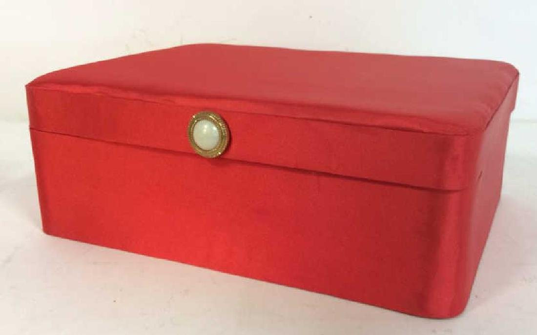 Red Toned Fabric Jewelry Box