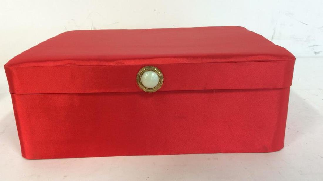 Red Toned Fabric Jewelry Box - 2
