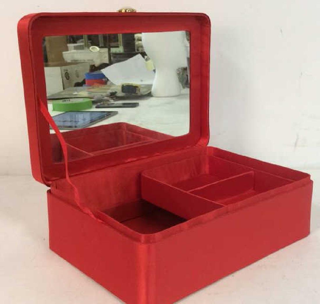 Red Toned Fabric Jewelry Box - 4