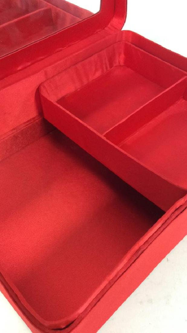 Red Toned Fabric Jewelry Box - 5