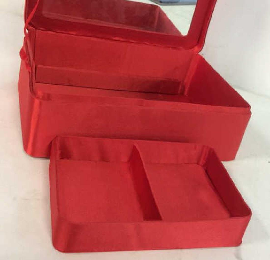 Red Toned Fabric Jewelry Box - 6