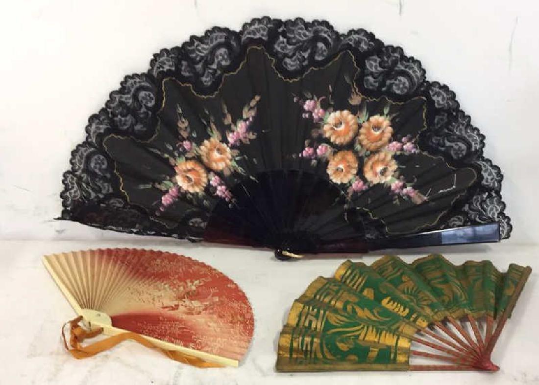 Lot 3 Oriental Style Handheld Fan