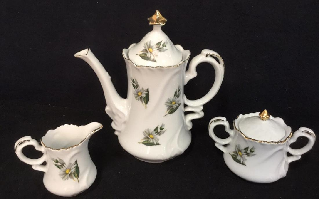 Lot 3 Porcelain Ceramic Teapot Sugar And Creamer
