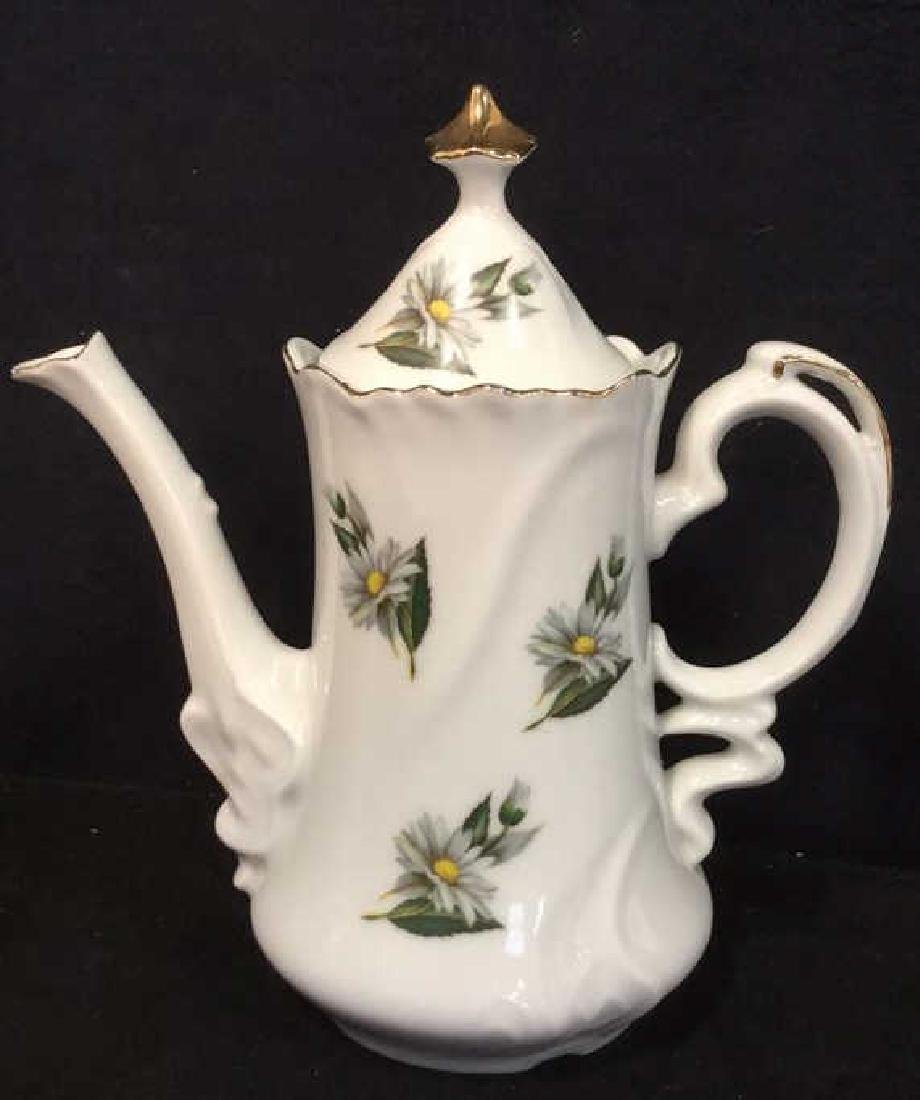Lot 3 Porcelain Ceramic Teapot Sugar And Creamer - 2