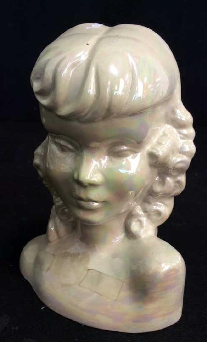 Vintage Opalescent Porcelain Female Bust