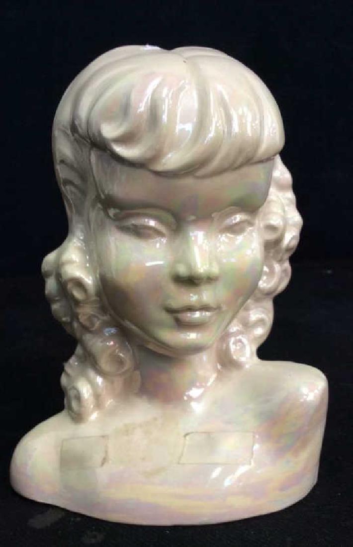 Vintage Opalescent Porcelain Female Bust - 2