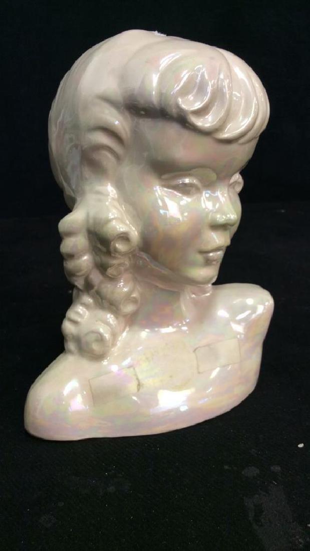 Vintage Opalescent Porcelain Female Bust - 3