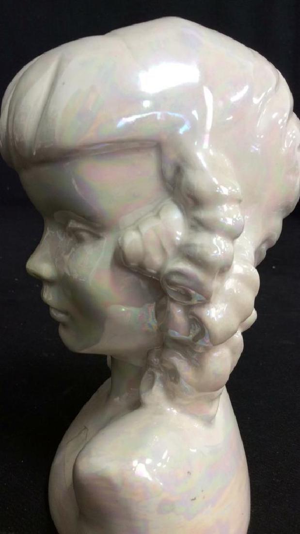 Vintage Opalescent Porcelain Female Bust - 5