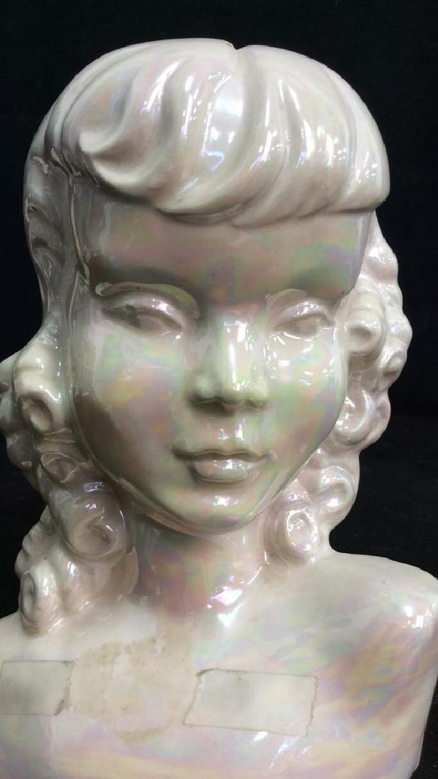 Vintage Opalescent Porcelain Female Bust - 6