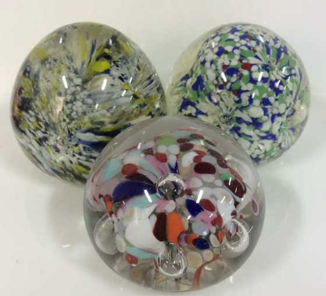 Lot 3 Art Glass Collectible Paper Weights