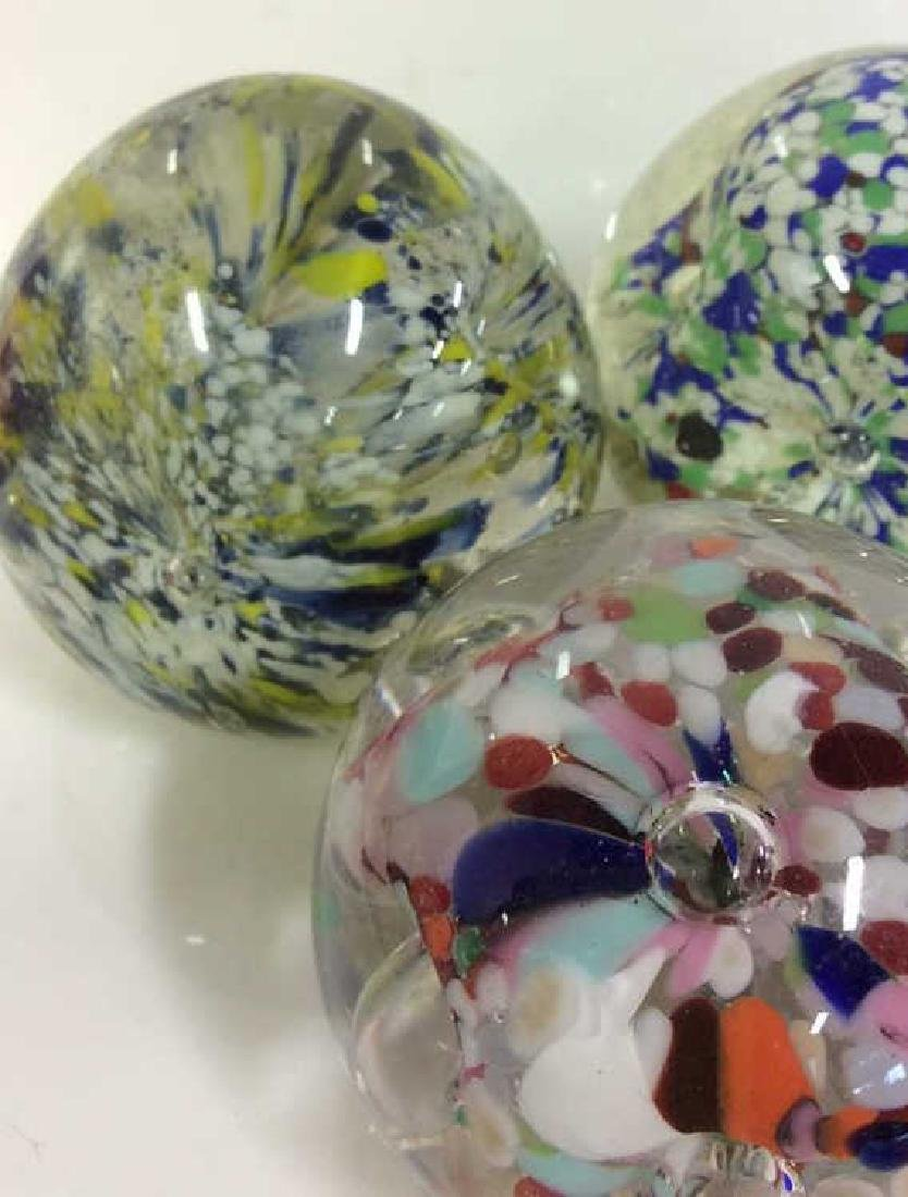 Lot 3 Art Glass Collectible Paper Weights - 2