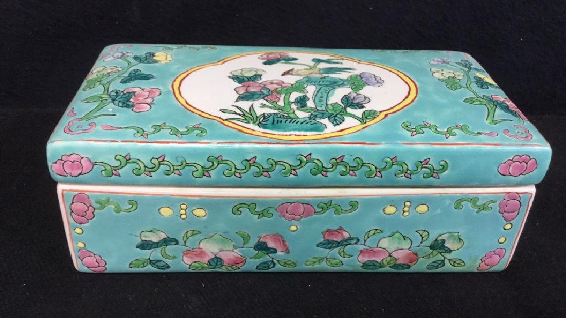 Asian Porcelain Ceramic Hand Painted Lidded Box