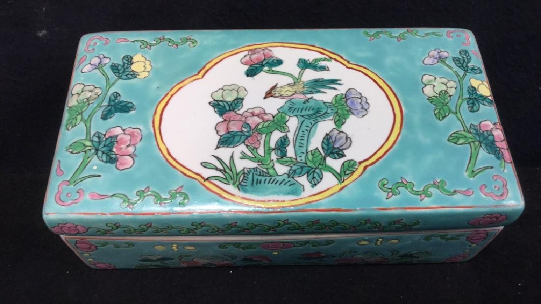 Asian Porcelain Ceramic Hand Painted Lidded Box - 2