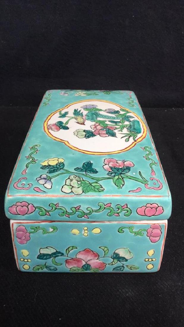 Asian Porcelain Ceramic Hand Painted Lidded Box - 3